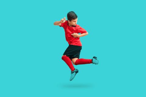Banner de uma criança fanática por futebol e também pelos livros personalizados da Dentro da História