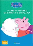 Capa do livro personalizado do Peppa Pig - O Primeiro dia de Aula