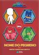 Capa do livro personalizado do PJ Masks - Heróis Trabalham Juntos