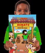 Um exemplar do livro personalizado Turma da Mônica - Visita o Chico Bento